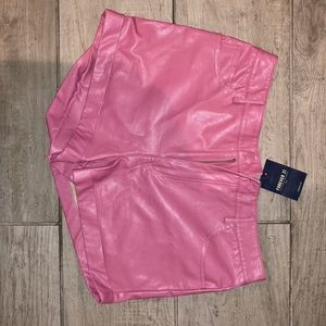 Pink leather pants
